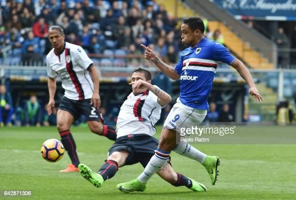 Luis Muriel of Sampdoria assist for score Fabio Quagliarella 11 during the Serie A match between UC Sampdoria and Cagliari Calcio at Stadio Luigi...