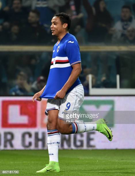 Luis Muriel of Sampdoria celebrates after goal 01 during the Serie A match between Genoa CFC and UC Sampdoria at Stadio Luigi Ferraris on March 11...