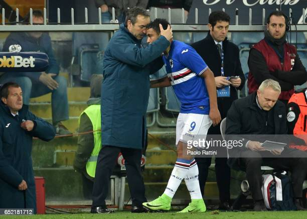 Luis Muriel of Sampdoria celebrates after goal 01 with head coach Marco Giampaolo during the Serie A match between Genoa CFC and UC Sampdoria at...