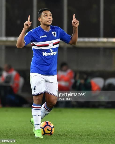 Luis Muriel of Sampdoria celebrates after penalty 11 during the Serie A match between UC Sampdoria andv Bologna FC at Stadio Luigi Ferraris on...
