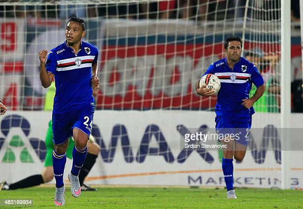 Luis Muriel of Sampdoria celebrates scoring the goal during the UEFA Europa League Third Qualifying Round 2nd Leg match between Vojvodina Novi Sad...