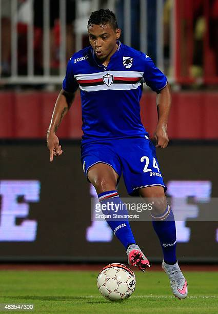 Luis Muriel of Sampdoria in action during the UEFA Europa League Third Qualifying Round 2nd Leg match between Vojvodina Novi Sad and Sampdoria at...