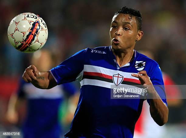 Luis Muriel of Sampdoria in action during the UEFA Europa League Third Qualifying Round 2nd Leg match between Vojvodina Novi Sad and Sampdoria at...