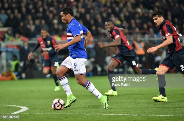 Luis Muriel of Sampdoria in action for score 01 during the Serie A match between Genoa CFC and UC Sampdoria at Stadio Luigi Ferraris on March 11 2017...