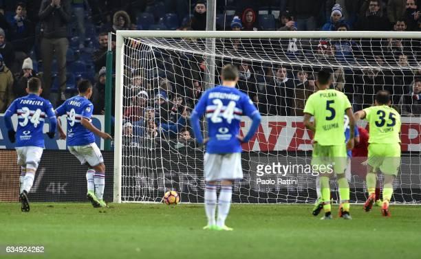 Luis Muriel of Sampdoria penalty 11 during the Serie A match between UC Sampdoria andv Bologna FC at Stadio Luigi Ferraris on February 12 2017 in...