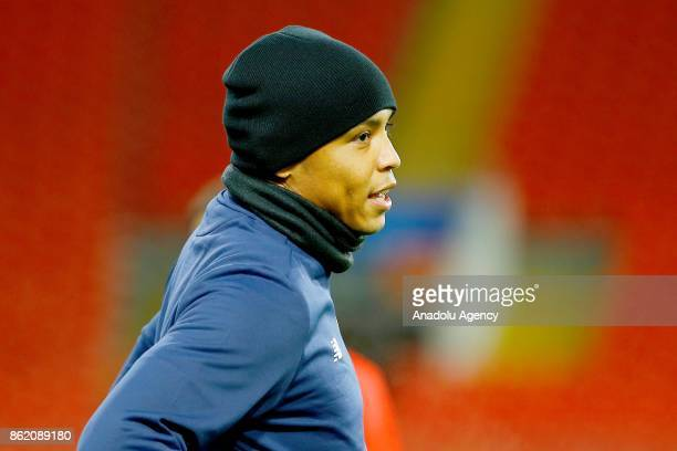 Luis Muriel of Sevilla FC attends a training session ahead of UEFA Champions League Group match between FC Spartak Moscow and Sevilla FC at the...