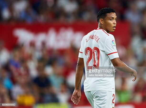 Luis Muriel of Sevilla FC looks on during the La Liga match between Sevilla and Espanyol at Estadio Ramon Sanchez Pizjuan on August 19 2017 in Seville