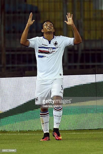 Luis Muriel of UC Sampdoria celebrates after scoring a goal during the Serie A match between Empoli FC and UC Sampdoria at Stadio Carlo Castellani on...
