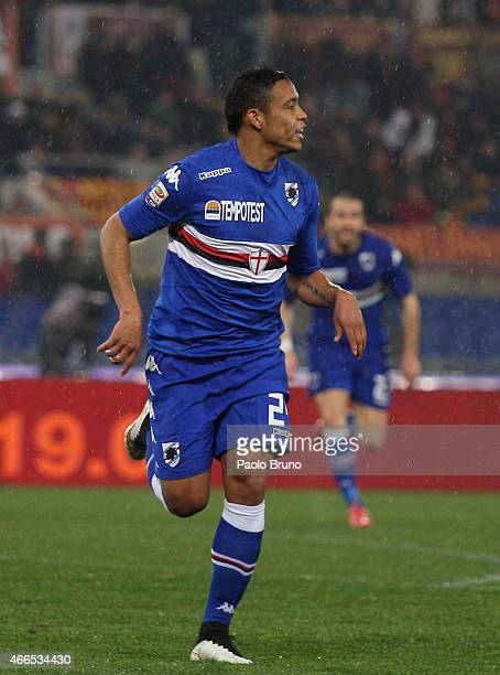 Luis Muriel of UC Sampdoria celebrates after scoring the second team's goal during the Serie A match between AS Roma and UC Sampdoria at Stadio...