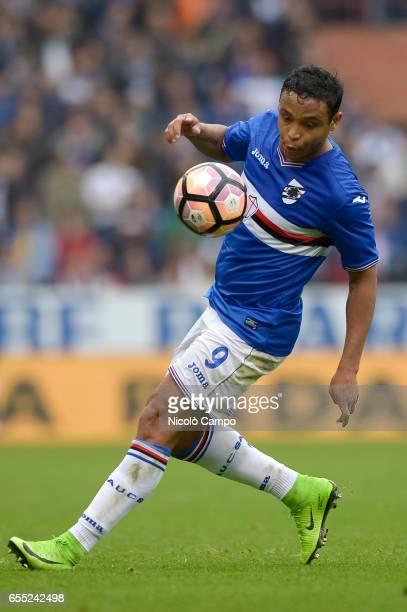 Luis Muriel of UC Sampdoria in action during the Serie A football match between UC Sampdoria and Juventus FC Juventus FC wins 10 over UC Sampdoria