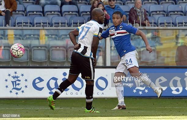 Luis Muriel of UC Sampdoria scores the opening goal during the Serie A match between UC Sampdoria and Udinese Calcio at Stadio Luigi Ferraris on...