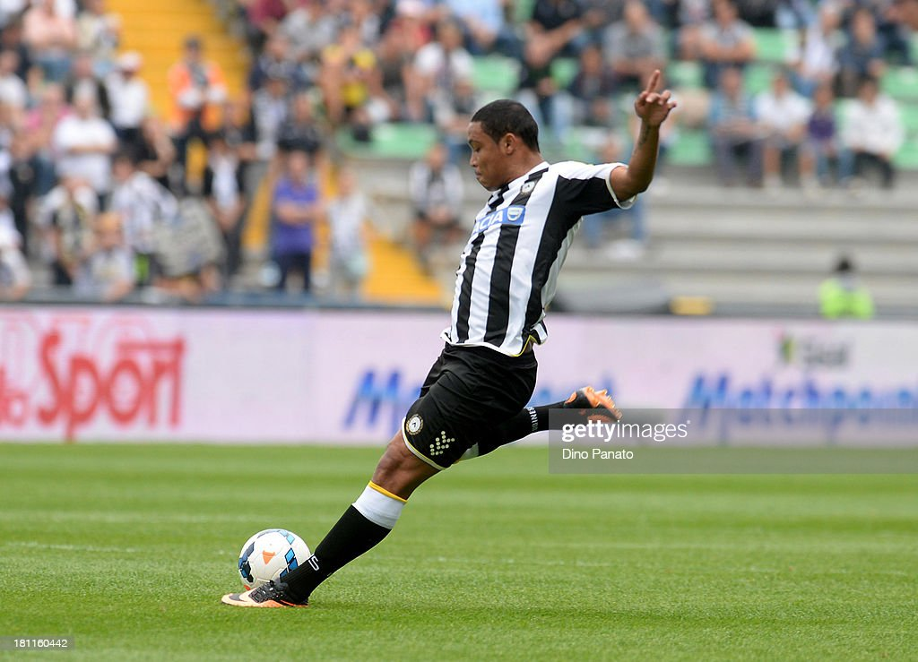 Luis Muriel of Udinese Calcio in action during the Serie A match between Udinese Calcio and Bologna FC at Stadio Friuli on September 15, 2013 in Udine, Italy.