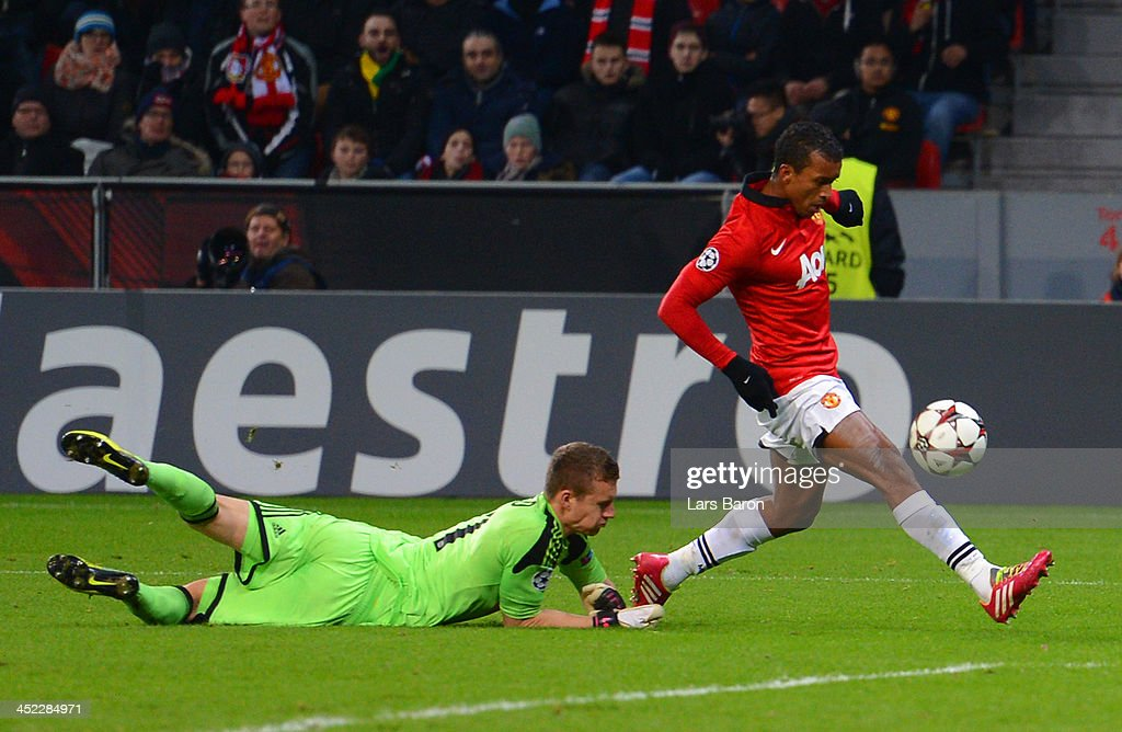 Luis Nani of Manchester United rounds Bernd Leno of Bayer Leverkusen to score their fifth goal during the UEFA Champions League Group A match between Bayer Leverkusen and Manchester United at BayArena on November 27, 2013 in Leverkusen, Germany.