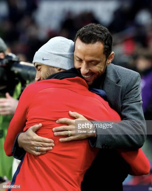Luis Nene react with Lucas Moura of Paris SaintGermain before the Ligue 1 match between Paris Saint Germain and Lille OSC at Parc des Princes on...