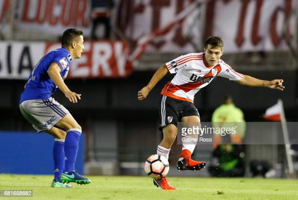 Luis Olivera Moreira of River Plate takes a shot during a group stage match between River Plate and Emelec as part of Copa CONMEBOL Libertadores...