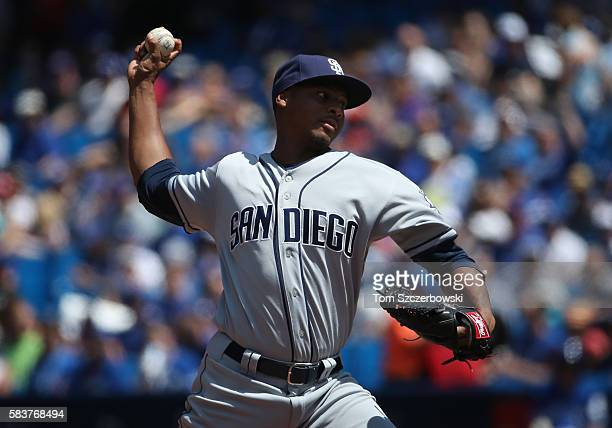 Luis Perdomo of the San Diego Padres delivers a pitch in the first inning during MLB game action against the Toronto Blue Jays on July 27 2016 at...