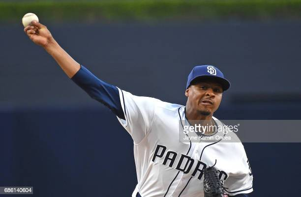 Luis Perdomo of the San Diego Padres in the first inning of the game against the Arizona Diamondbacks at Petco Park on May 20 2017 in San Diego...