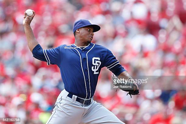 Luis Perdomo of the San Diego Padres pitches against the Cincinnati Reds in the second inning of the game at Great American Ball Park on June 26 2016...