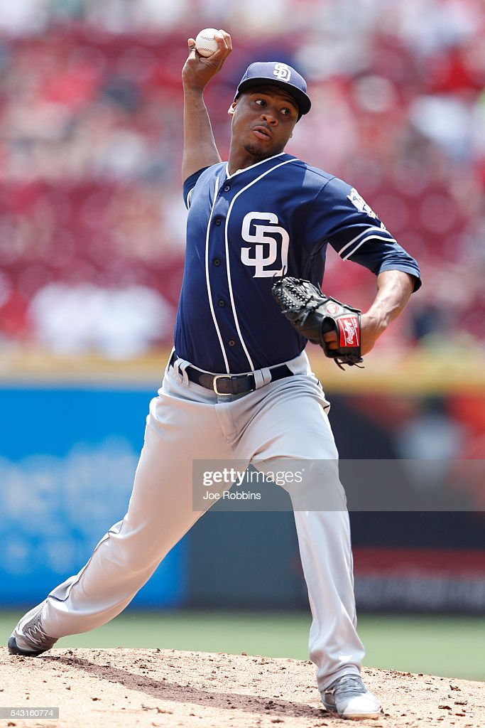 Luis Perdomo #61 of the San Diego Padres pitches against the Cincinnati Reds in the first inning of the game at Great American Ball Park on June 26, 2016 in Cincinnati, Ohio.