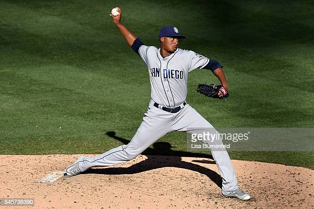 Luis Perdomo of the San Diego Padres pitches against the Los Angeles Dodgers at Dodger Stadium on July 9 2016 in Los Angeles California