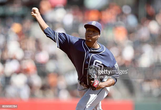 Luis Perdomo of the San Diego Padres pitches against the San Francisco Giants in the first inning at ATT Park on September 14 2016 in San Francisco...