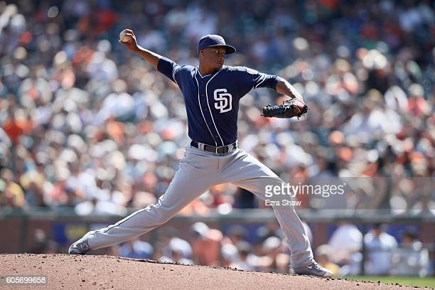 Luis Perdomo of the San Diego Padres pitches against the San Francisco Giants in the third inning at ATT Park on September 14 2016 in San Francisco...