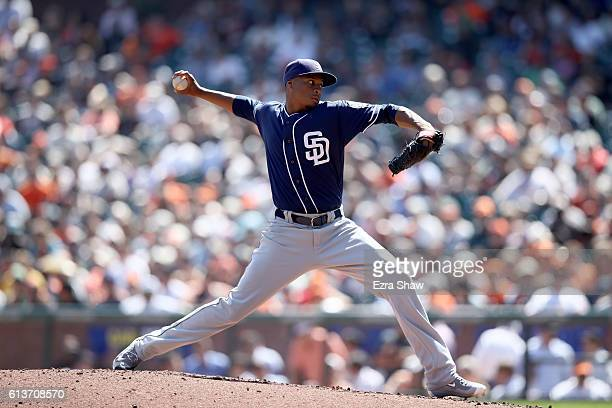 Luis Perdomo of the San Diego Padres pitches against the San Francisco Giants at ATT Park on September 14 2016 in San Francisco California