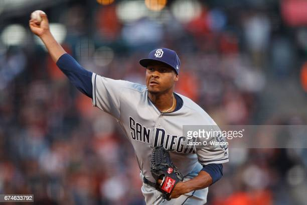Luis Perdomo of the San Diego Padres pitches against the San Francisco Giants during the first inning at ATT Park on April 28 2017 in San Francisco...