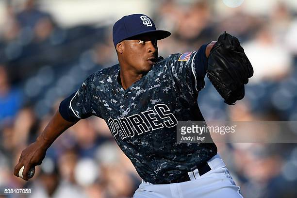 Luis Perdomo of the San Diego Padres pitches during the first inning of a baseball game against the Colorado Rockies at PETCO Park on June 5 2016 in...