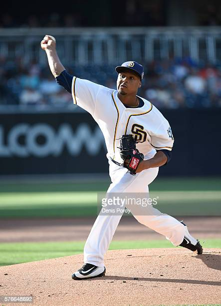 Luis Perdomo of the San Diego Padres pitches during the first inning of a baseball game against the San Francisco Giants at PETCO Park on July 16...
