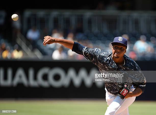 Luis Perdomo of the San Diego Padres pitches during the first inning of a baseball game against the Arizona Diamondbacks at PETCO Park on August 21...