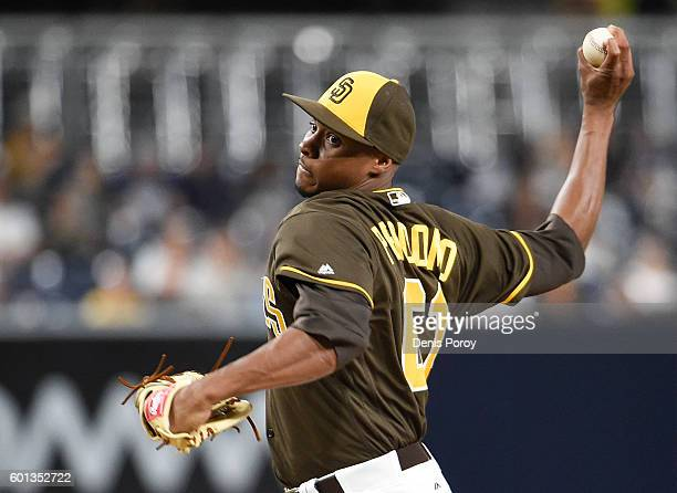 Luis Perdomo of the San Diego Padres pitches during the first inning of a baseball game against the Colorado Rockies at PETCO Park on September 9...