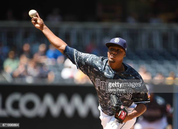 Luis Perdomo of the San Diego Padres pitches during the first inning of a baseball game against the Miami Marlins at PETCO Park on April 23 2017 in...