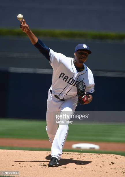 Luis Perdomo of the San Diego Padres pitches during the first inning of a baseball game against the Colorado Rockies at PETCO Park on May 4 2017 in...