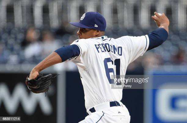 Luis Perdomo of the San Diego Padres pitches during the first inning of a baseball game against the Milwaukee Brewers at PETCO Park on May 15 2017 in...