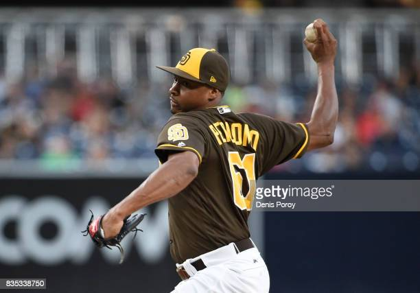 Luis Perdomo of the San Diego Padres pitches during the first inning of a baseball game against the Washington Nationals at PETCO Park on August 18...