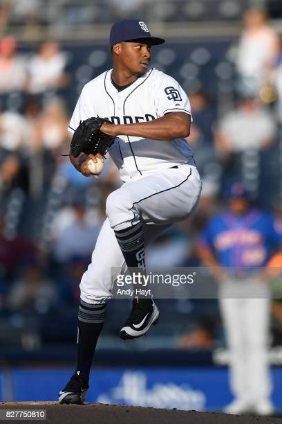 Luis Perdomo of the San Diego Padres pitches during the game against the New York Mets at Petco Park on July 27 2017 in San Diego California
