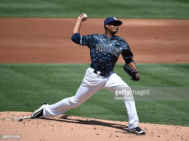 Luis Perdomo of the San Diego Padres pitches during the second inning of a baseball game against the Arizona Diamondbacks at PETCO Park on August 21...