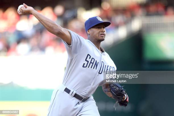 Luis Perdomo of the San Diego Padres pitches in the second inning during a baseball game against the Washington Nationals at Nationals Park on May 26...