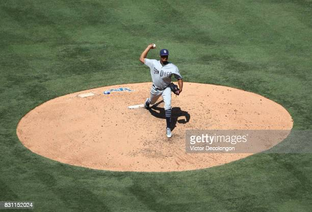 Luis Perdomo of the San Diego Padres pitches in the sixth inning during the MLB game against the Los Angeles Dodgers at Dodger Stadium on August 13...