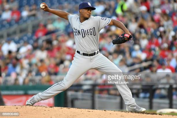 Luis Perdomo of the San Diego Padres pitches in third inning during a baseball game against the Washington Nationals at Nationals Park on May 26 2017...