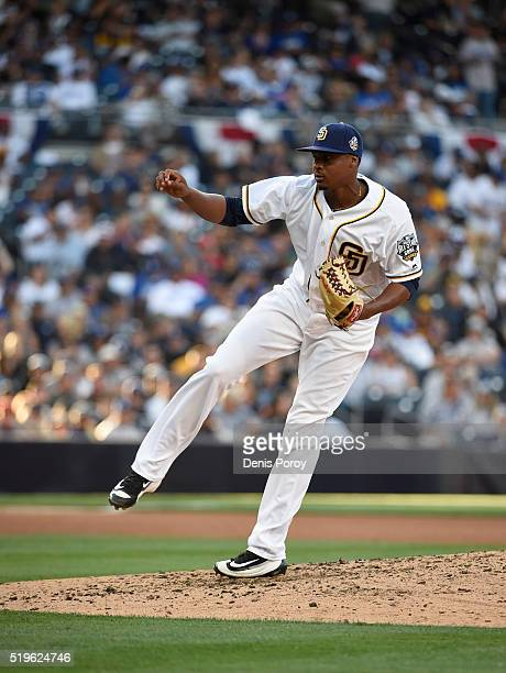 Luis Perdomo of the San Diego Padres plays during a baseball game against the Los Angeles Dodgers on opening day at PETCO Park on April 4 2016 in San...