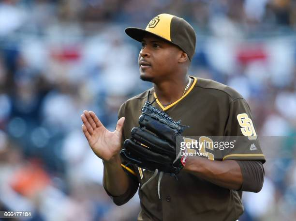 Luis Perdomo of the San Diego Padres plays during the opening day baseball game against the San Francisco Giants at PETCO Park on April 7 2017 in San...
