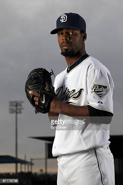 Luis Perdomo of the San Diego Padres poses during photo media day at the Padres spring training complex on February 27 2010 in Peoria Arizona