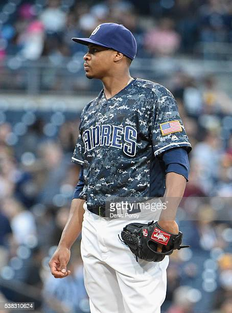 Luis Perdomo of the San Diego Padres stands on the mound after giving up a tworun home run during the fifth inning of a baseball game against the...
