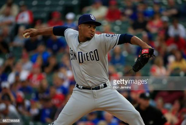 Luis Perdomo of the San Diego Padres throws against the Texas Rangers during the first inning at Globe Life Park in Arlington on May 10 2017 in...