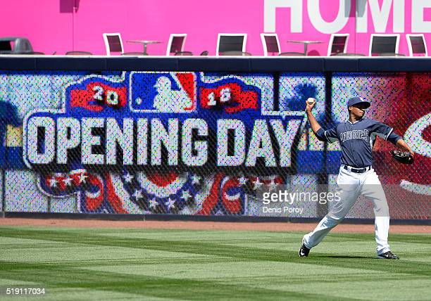 Luis Perdomo of the San Diego Padres warms up during batting practice before a baseball game against the Los Angeles Dodgers on opening day at PETCO...