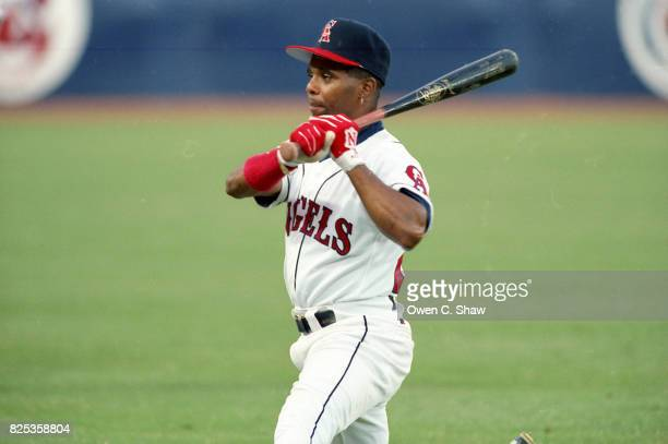Luis Polonia of the California Angels pre game at the Big A circa 1992 in Anaheim California