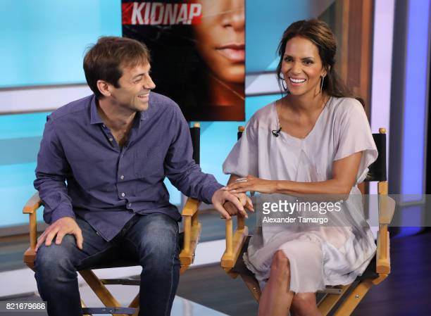 Luis Prieto and Halle Berry are seen at Telemundo Studios to promote the film 'Kidnap' on July 24 2017 in Miami Florida