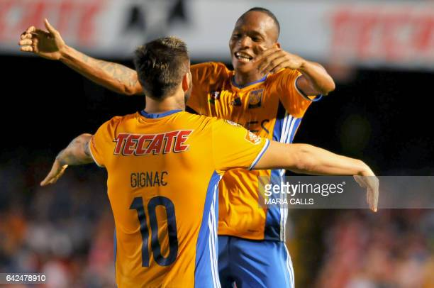 Luis Quinones of Tigres celebrates his goal against Veracruz with his teammate Andre Gognac during the match their Mexican Clausura 2017 Tournament...